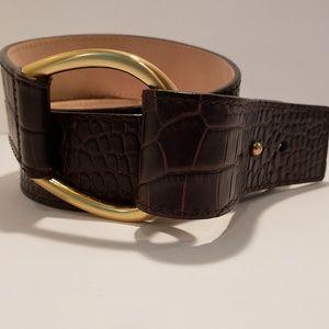 Talbots Genuine Leather Crocodile Print Belt